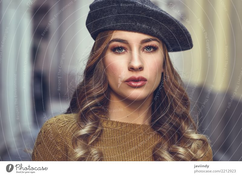 Beautiful young girl wearing beret standing in the street. Lifestyle Style Hair and hairstyles Face Winter Human being Woman Adults Autumn Street Fashion Skirt