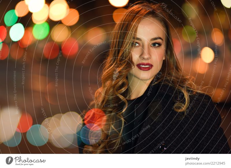 Blonde girlt with defocused city lights at the background. Style Beautiful Hair and hairstyles Face Human being Woman Adults Autumn Street Fashion Jacket