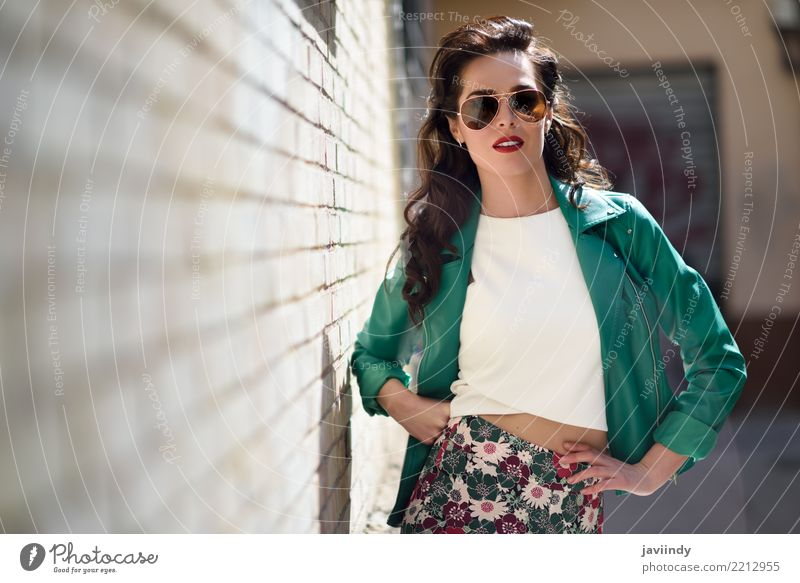 Woman with aviator sunglasses next to a brick wall Lifestyle Style Beautiful Hair and hairstyles Face Summer Human being Adults Autumn Street Fashion Jacket