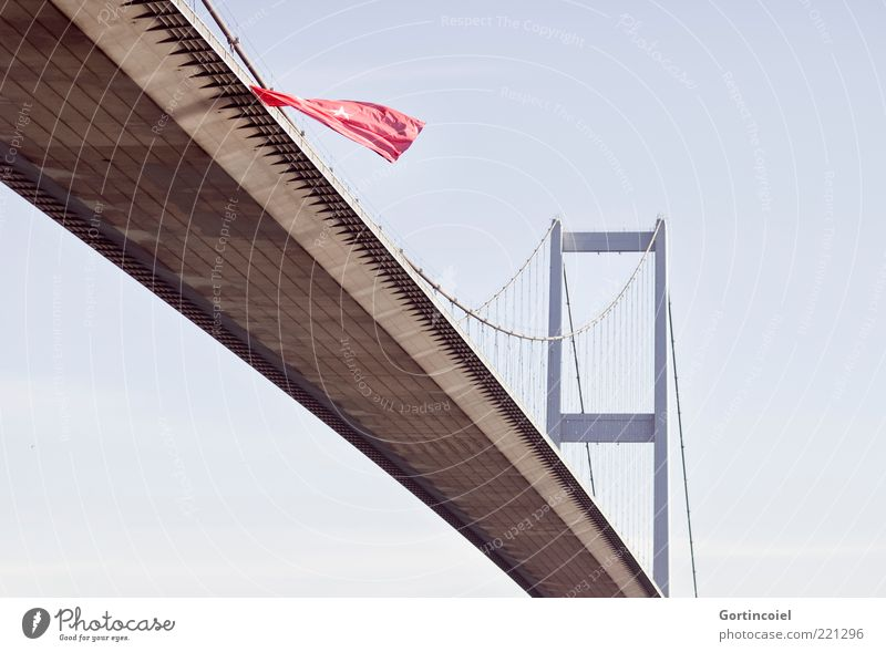 Architecture Large Europe Bridge Flag Asia Connection Manmade structures Turkey Blow Light Tourist Attraction Istanbul Continents Suspension bridge The Bosphorus