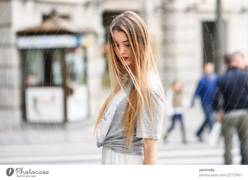 Blonde girl wearing casual clothes in urban background Lifestyle Happy Beautiful Hair and hairstyles Face Summer Human being Woman Adults Youth (Young adults)
