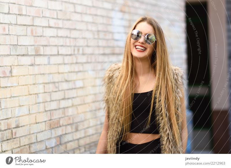 Blonde girl smiling wearing round sunglasses Lifestyle Happy Beautiful Hair and hairstyles Face Summer Human being Feminine Woman Adults Youth (Young adults) 1