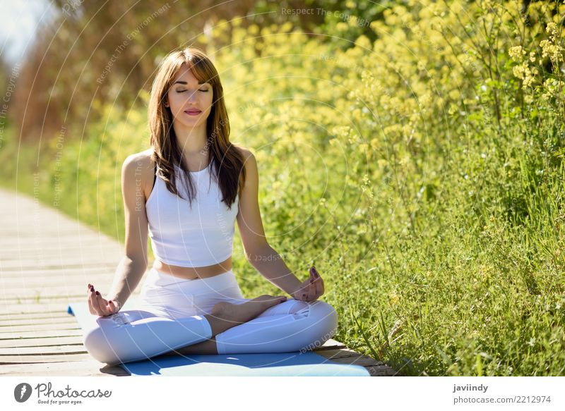 Young woman doing yoga on wooden road in nature. Lifestyle Beautiful Body Relaxation Meditation Summer Sports Yoga Human being Feminine Woman Adults 1