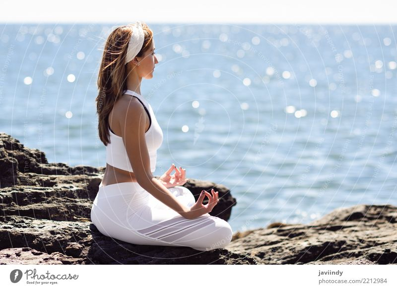 Young woman doing yoga in the beach. Woman Human being Nature Youth (Young adults) Summer Beautiful White Ocean Relaxation Beach 18 - 30 years Adults Lifestyle
