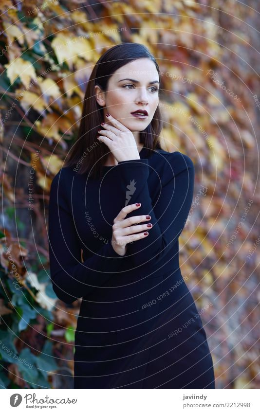 Woman wearing black dress with autumn colors at the background Lifestyle Style Happy Beautiful Hair and hairstyles Human being Adults Street Fashion