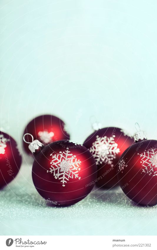 Christmas & Advent Red Moody Feasts & Celebrations Glittering Lie Multiple Symbols and metaphors Sign Sphere Glitter Ball Christmas decoration Anticipation Snowflake Festive