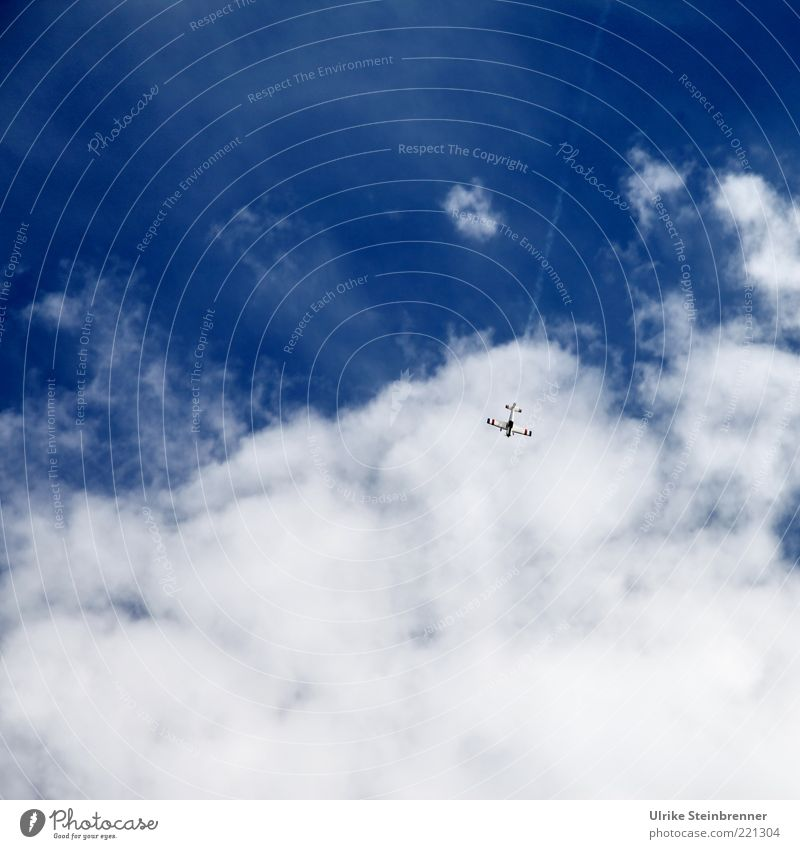 Sky Blue White Clouds Playing Air Leisure and hobbies Flying Airplane Aviation Soft Toys Risk Vertical Downward Blue sky