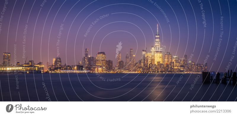 Skyline Manhattan New York from New Jersey at night Environment Water Beautiful weather Coast River bank Bay New York City USA Americas Town Capital city