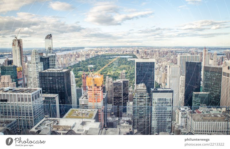 View from Rockefeller Center to Central Park, New York City Elegant Tourism Sightseeing City trip Sky Beautiful weather Meadow Manhattan USA Town Capital city