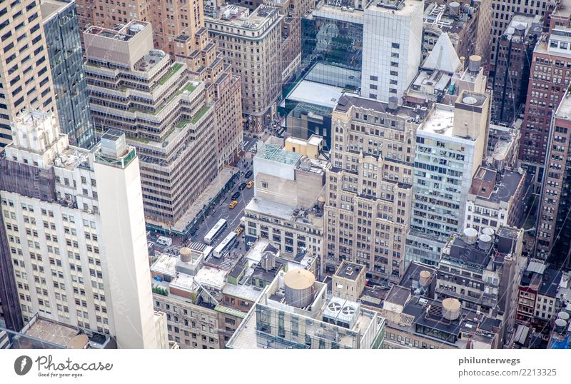 Street canyons of New York, view from above Manhattan New York City USA Americas Town Capital city Port City Downtown Skyline House (Residential Structure)