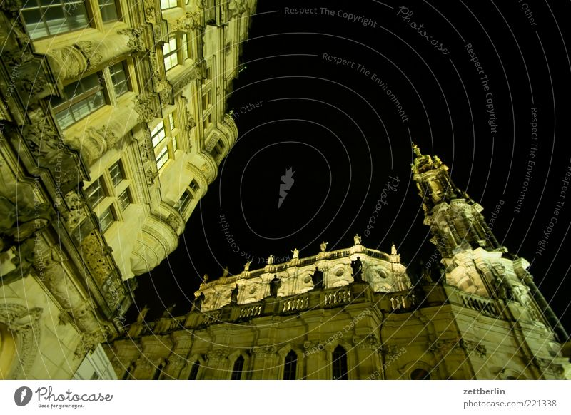 Old Sky City Building Architecture Facade Church Tower Night sky Dresden Monument Manmade structures Historic Sculpture