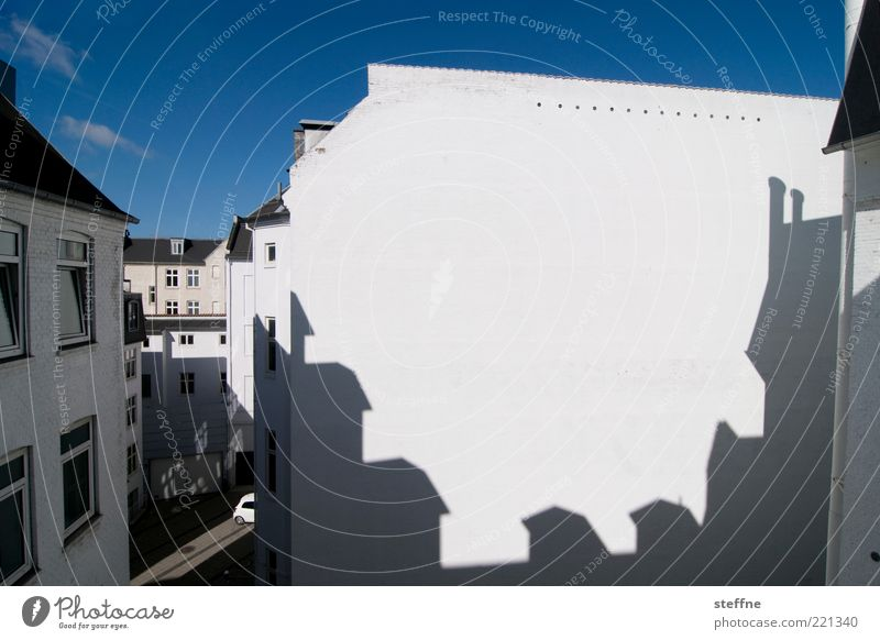 Circular saw reloaded Sky Copenhagen Old town House (Residential Structure) Wall (barrier) Wall (building) Facade Blue White Shadow Colour photo Exterior shot