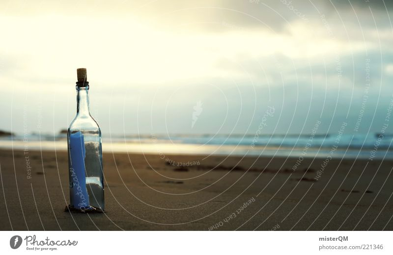 oneiric. Esthetic Calm Romance Old fashioned Message in a bottle Dream Gorgeous Beach Surrealism Information Communication Communicate Means of communication