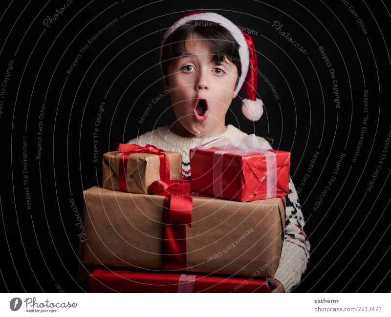 happy child with gifts at christmas Child Human being Vacation & Travel Christmas & Advent Joy Winter Lifestyle Love Funny Emotions Movement Happy