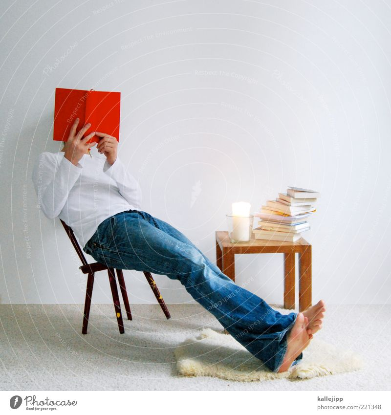 Man Red Calm House (Residential Structure) Life Room Book Adults Flat (apartment) Sit Table Lifestyle Study Reading Jeans Candle