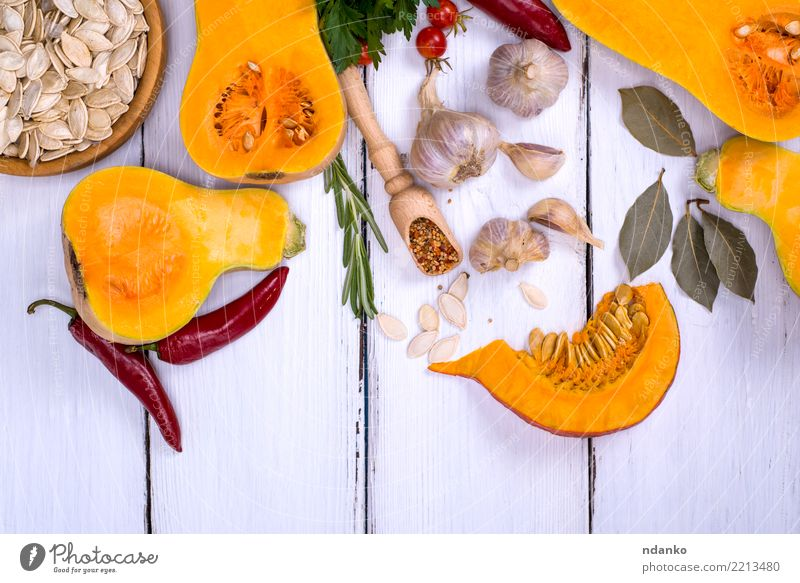 fresh pumpkin and pumpkin seeds Vegetable Herbs and spices Nutrition Eating Lunch Dinner Organic produce Vegetarian diet Diet Decoration Table Hallowe'en Nature