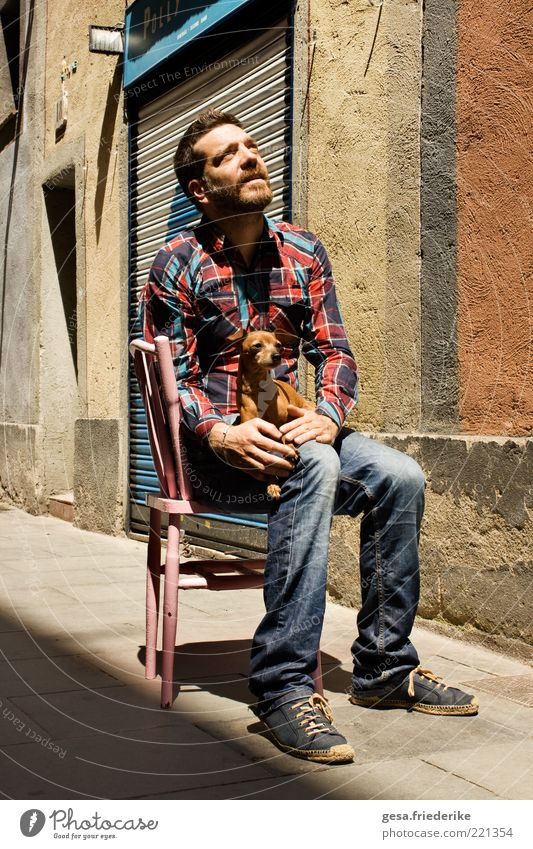 Human being Animal House (Residential Structure) Life Dog Stone Sit Facade Masculine Free Esthetic Authentic Exceptional Clothing Uniqueness Chair