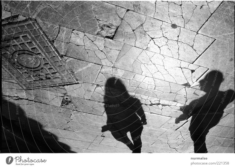 make history Human being Young woman Youth (Young adults) Young man Couple Partner 2 Places Old Broken Slivered Paving stone Gully Black & white photo Shadow