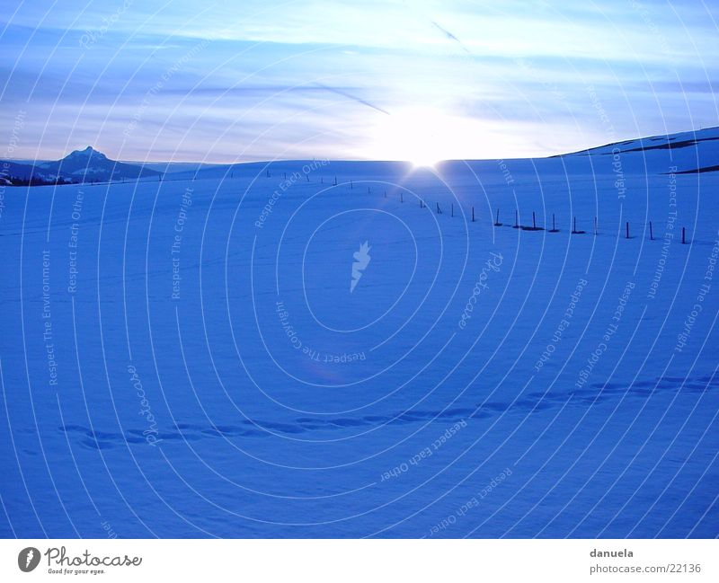 Sundown in winter Sunset Winter Meadow Bavaria Mountain Snow Ice Alps