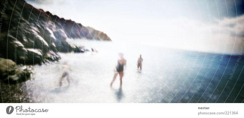 Human being Sky Nature Water Summer Sun Ocean Landscape Emotions Coast Happy Rock Group Friendship Moody Art