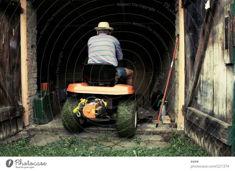 cul-de-sac Garden Gardening Retirement Closing time Human being Masculine Man Adults 1 Gate Hat Driving Lawnmower Garage Open Gardening equipment