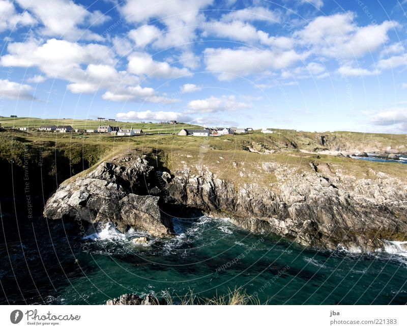 Nature Water Ocean Summer Far-off places Freedom Stone Landscape Coast Waves Rock Wild Village Bay Elements Beautiful weather