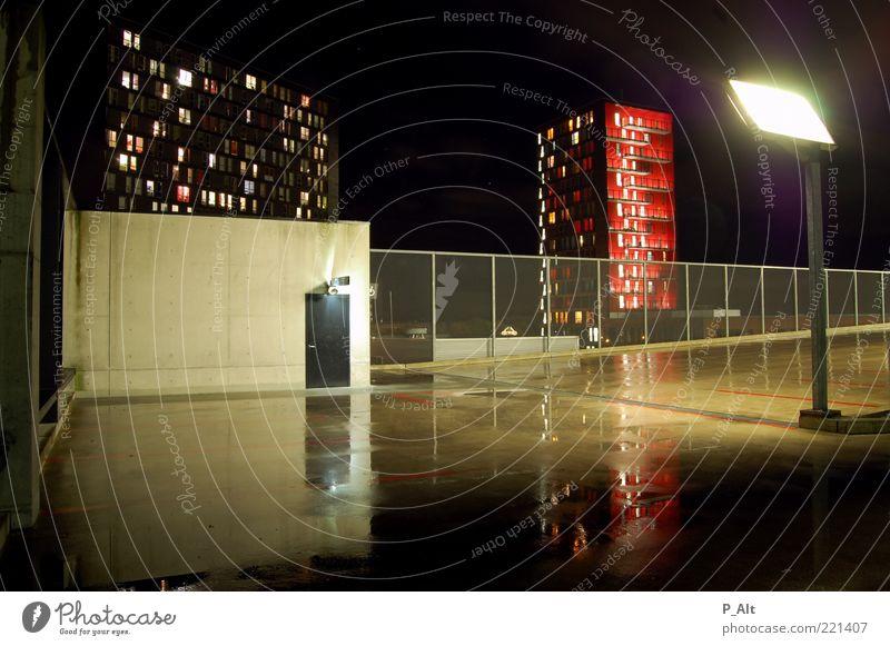 Water City Calm Dark Cold Style Building Lighting Architecture Glass Concrete High-rise Car door Lantern Universe