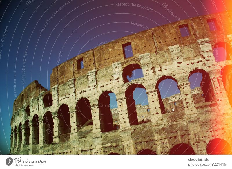 colossally Rome Old town Manmade structures Architecture Tourist Attraction Landmark Colosseum Ancient Glare effect Retro Colours Patch of colour Forum Romano