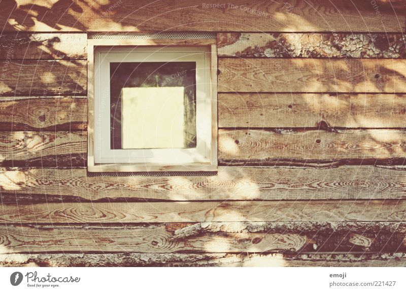 [ ] Hut Window Warmth Brown Wood Wooden wall Wooden house Joist Square Wood grain Colour photo Exterior shot Copy Space left Copy Space bottom Copy Space middle