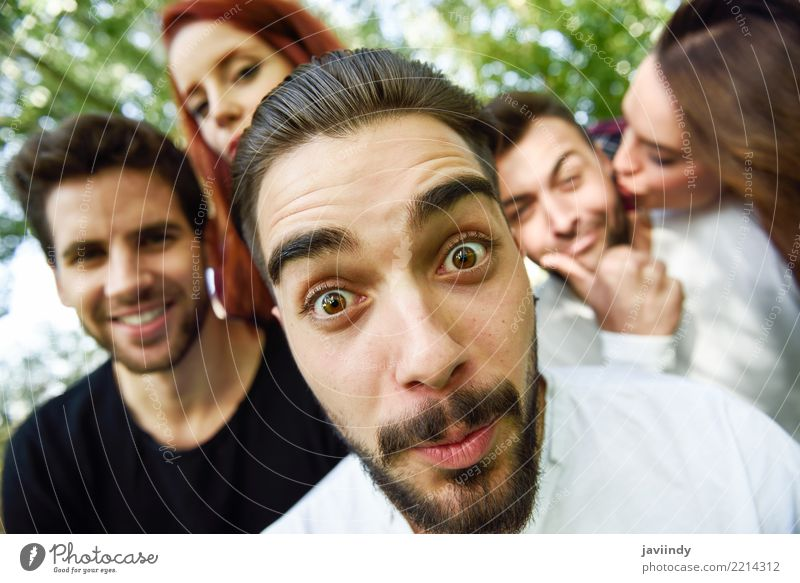Group of friends taking selfie in urban park Lifestyle Joy Happy Beautiful Leisure and hobbies Telephone PDA Camera Human being Woman Adults Man Friendship 5
