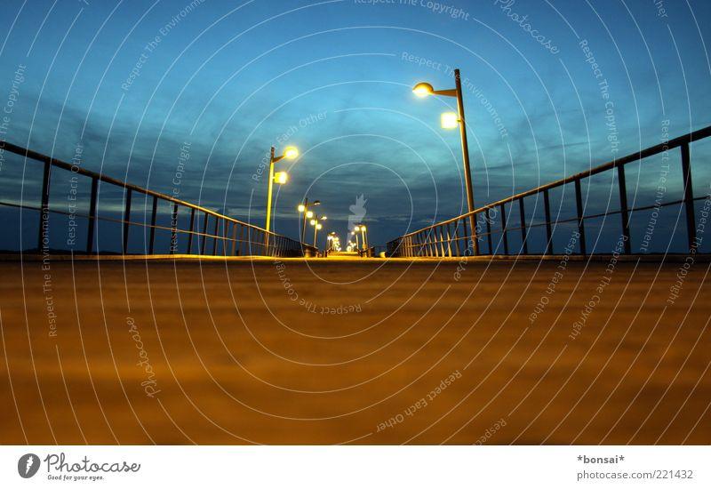 Sky Blue Calm Clouds Far-off places Dark Brown Coast Horizon Beginning Perspective Bridge Target Infinity Long Illuminate