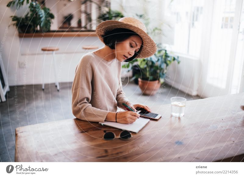 Young asian adult writing down ideas in notebook Woman Human being Youth (Young adults) Summer Adults Lifestyle Feminine Business Work and employment Music