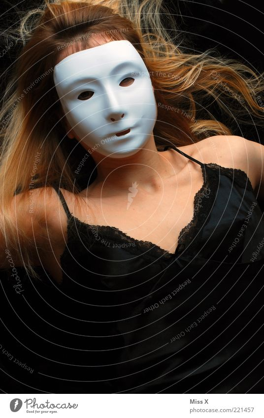 Human being Beautiful Black Adults Face Feminine Blonde Dress Mask 18 - 30 years Mysterious Creepy Chest Hide Long-haired Young woman