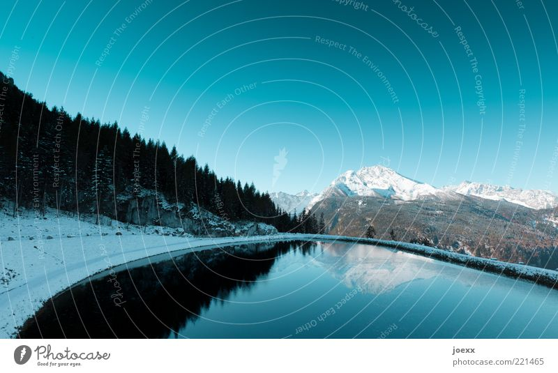 nature mirror Environment Nature Landscape Elements Air Water Cloudless sky Plant Forest Alps Mountain Peak Snowcapped peak Lakeside Pond Fresh Cold Clean