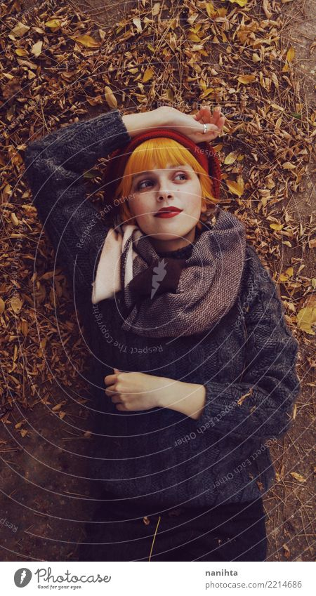 Young redhead woman in an autumn day Human being Youth (Young adults) Young woman Beautiful Leaf Lifestyle Autumn Natural Feminine Style Fashion Think Brown