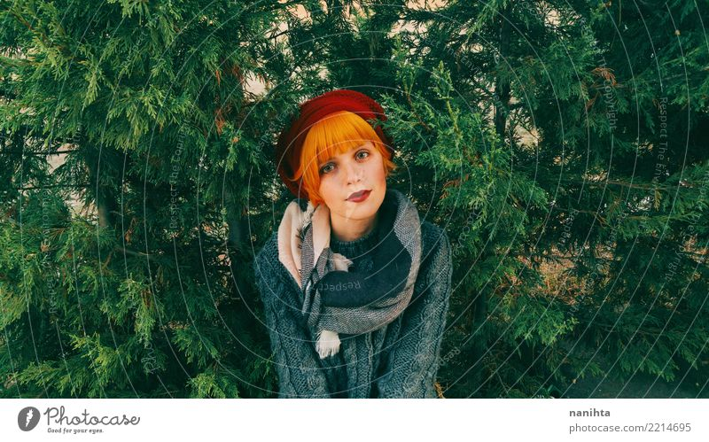 Young redhead woman in a forest Woman Human being Nature Youth (Young adults) Young woman Beautiful Calm Forest Winter 18 - 30 years Lifestyle Adults Autumn