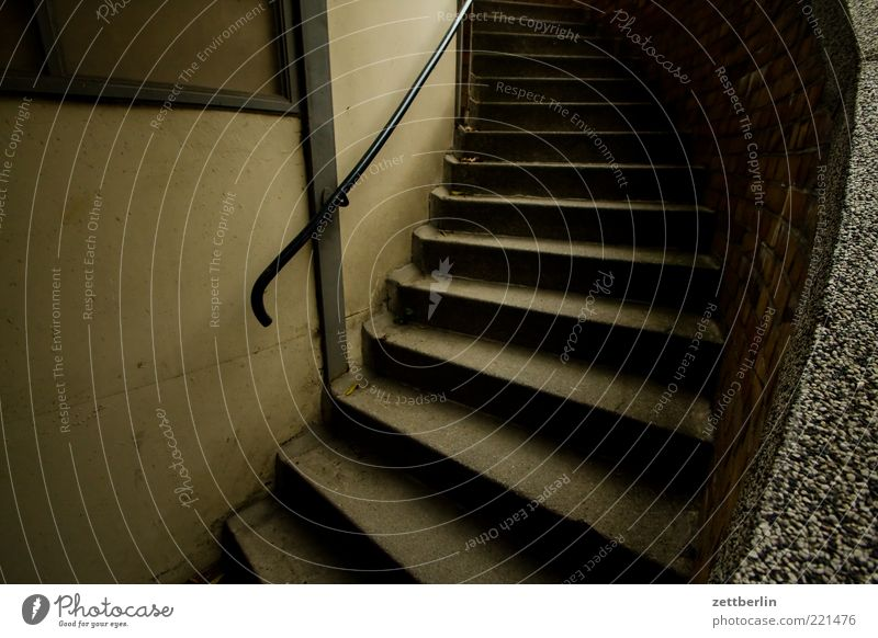 staircase Deserted Manmade structures Building Architecture Stairs Dark Sadness October wallroth Cellar Handrail Banister Colour photo Exterior shot Detail