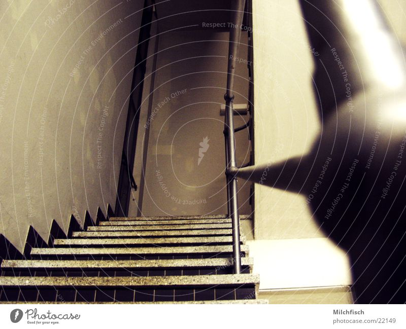 Old Dark Metal Architecture Stairs Steel Handrail Staircase (Hallway)