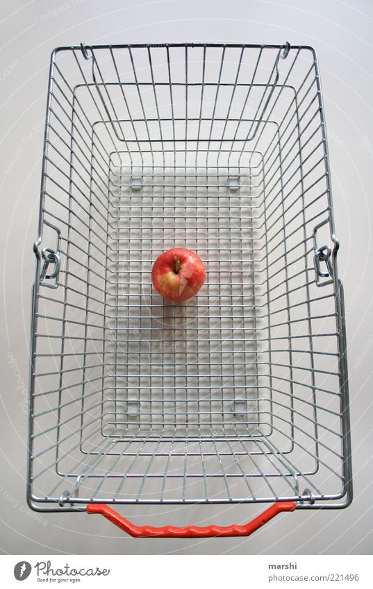 poor yield Food Fruit Apple Nutrition Diet Yellow Red White Shopping Shopping basket Empty Snack Colour photo Interior shot Organic produce Metal Door handle