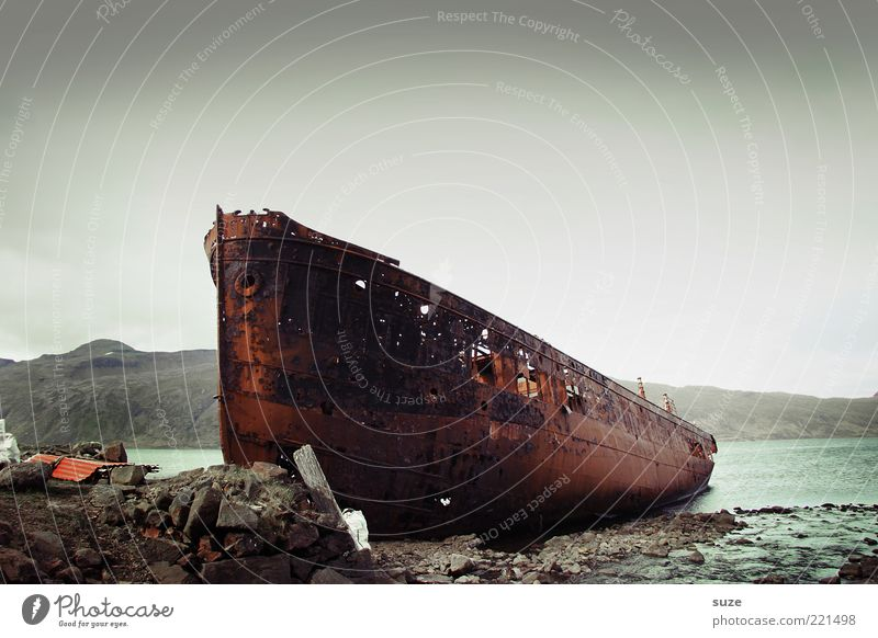 Old Water Ocean Loneliness Dark Travel photography Coast Stone Exceptional Watercraft Dirty Fantastic Broken Transience Lakeside Bay