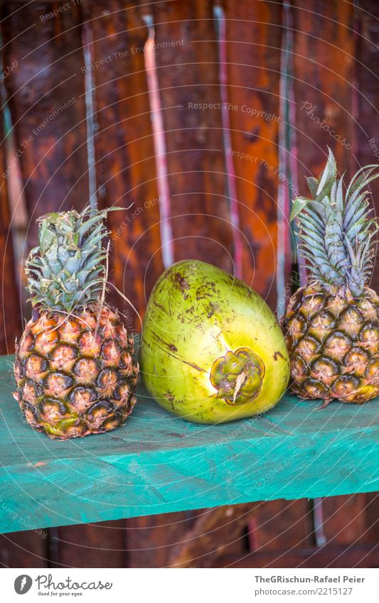 Pinacolada Pineapple Brown Yellow Green Turquoise Pina Colada Coconut Beverage Delicious Fruit Tropical fruits Exhibit Colour photo Exterior shot Detail