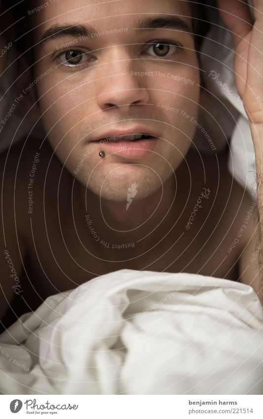 pillow talk Human being Masculine Young man Youth (Young adults) Life Face 1 18 - 30 years Adults Piercing Relaxation Lie Happy Beautiful Cuddly Near Natural