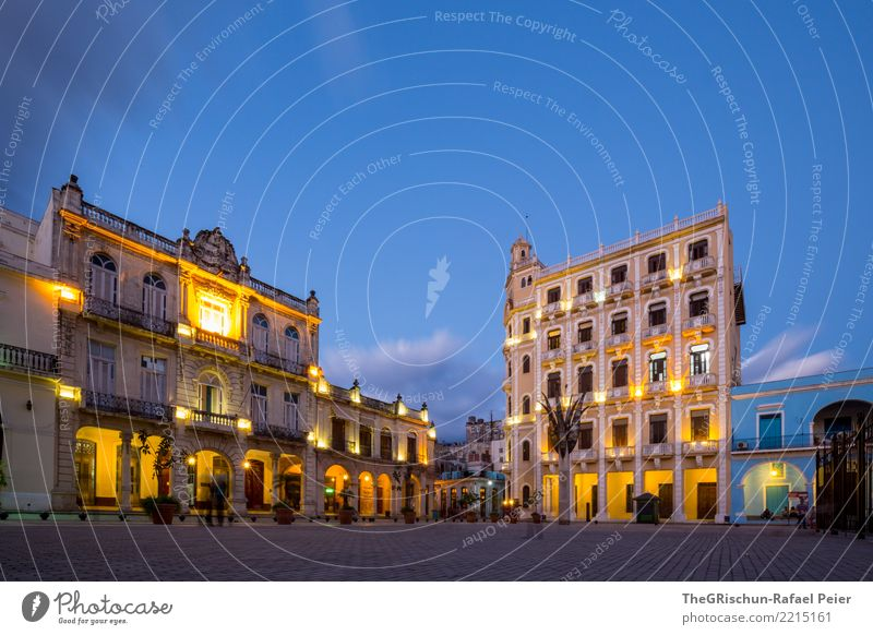 Havana by Night Town Capital city Port City Downtown Old town Esthetic Blue Yellow Gold Gray Black White Travel photography Cuba Tourism Valued Building Light