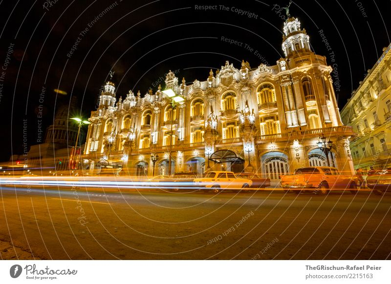 Havana by Night Town Capital city House (Residential Structure) Old Esthetic Orange Yellow Vintage car Street lighting Light (Natural Phenomenon) Motion blur