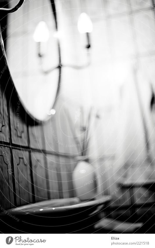 Lamp Bright Bathroom Mirror Mysterious Tile Illuminate Vase Black & white photo Rack Ghostly