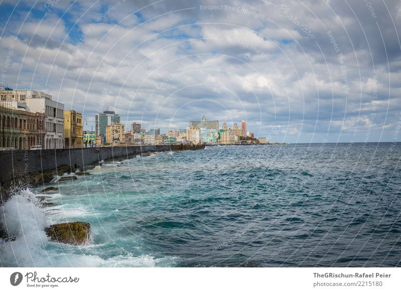 Havana (KUBA) Town Capital city Port City Skyline Blue Turquoise Cuba Ocean Far-off places House (Residential Structure) High-rise Travel photography
