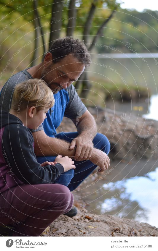 Father and son at the lake in conversation with their husbands Trip Human being Masculine Child Boy (child) Man Adults Parents Family & Relations Life 2