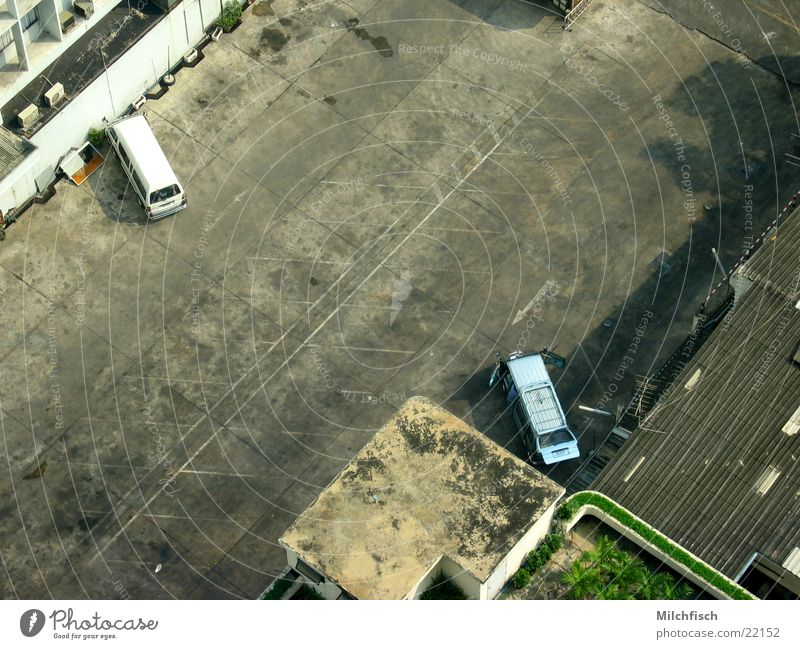 parking area Parking lot Places Empty Bird's-eye view Tar Success Car Old Dirty