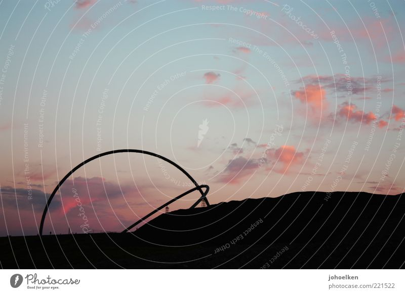 15° West Tourism Sightseeing Art Sculpture Landscape Sky Clouds Sunrise Sunset Beautiful weather Hill The Ruhr Deserted Sign Globe Round Blue Red Black Romance