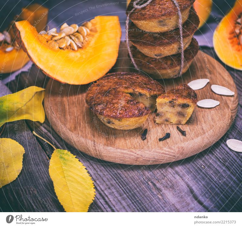 baking muffins from a pumpkin Leaf Eating Yellow Autumn Wood Fresh Table Kitchen Vegetable Candy Breakfast Tradition Dessert Bread Baked goods Dinner